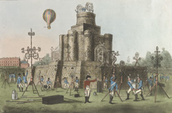 The Fortress (which inclosed the Grand Pavillion) in Green Park, with the ascent of the Balloon